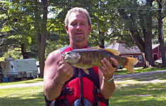 "20"" Smallmouth Bass caught in the river at Pine Crest Campground!"